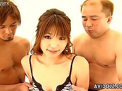 Hot Japanese seductress Ai Kurosawa enjoys nipples licking