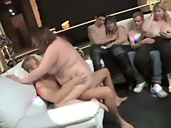 BBWs in an orgy of dicks banging them any which way they can