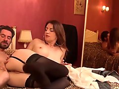 LA NOVICE - Silicone boobs French MILF rides fat cock
