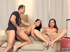 Old cowwoman Mom s two playmate s daughters getting crazy in her property