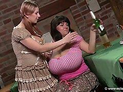 girl/girl milfs stroking Each Other