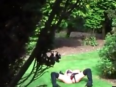My stepmother wanking in our garden