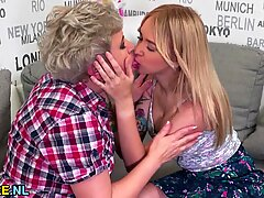 Granny licking out a hot teen