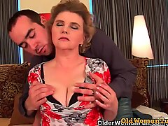 Busty grandma in stockings gets her hairy pussy fucked