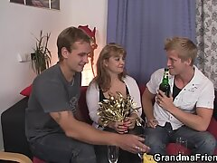 Two dudes pick up and fuck old woman