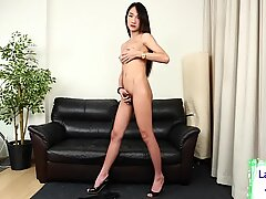 Gorgeous asian tgirl touches herself