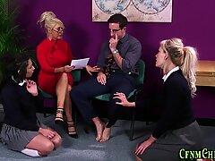 Cfnm milf teacher and babes get cum