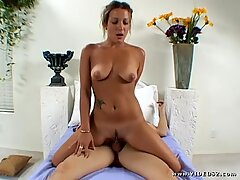 Horny Jamie James rides her pussy on this hard prick