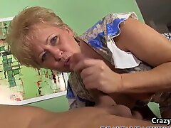 Blonde Gilf Giving a Sensational Blowjob