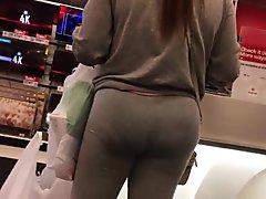 Bubble Booty Latina Milf Vpl in See-thru Grey Spandex
