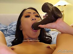 Sexy tiny spinner Asian rams huge black dildo in her tiny hole